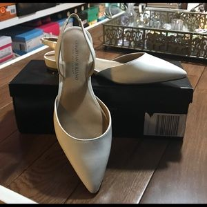 White, Christian Soriano, pointed to flat pumps